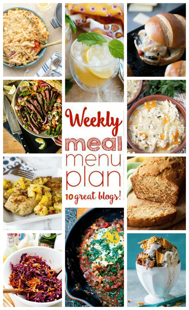 Weekly Meal Plan featuring recipe for Jerk Chicken with Pineapple Salsa,  Farmers Marked Tomato Sauce and Poached Eggs, Baked Pasta Primavera, Grilled Coffee Crusted Flank Steak, Portabello Veggie Sandwich, Creamy Chicken and Wild Rice Soup, Red Cabbage & Carrot Slaw, Whiskey Smash, Coconut Banana Bread, and Waffle Cone Brownie Sundae!