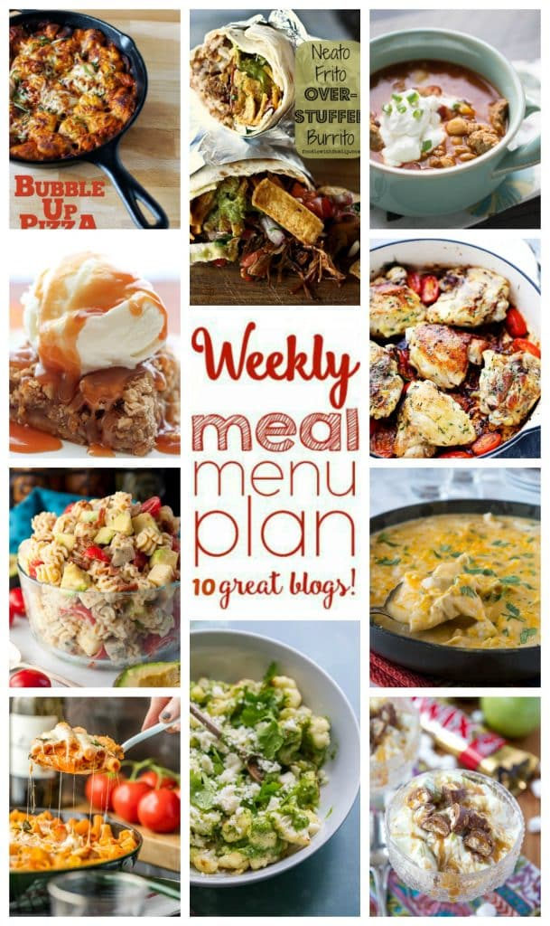 Weekly Meal Plan featuring recipes for White Chicken Enchilada Skillet, Neato Frito Overstuffed Burritos, Chicken Parmesan Pasta Bake, Skillet Garlic Rosemary Chicken Thighs, Bubble Up Pizza, Indian Spiced Chili, Chicken Club Pasta Salad, Roasted Cauliflower with Cashew Cilantro Pesto, Apple Pie Bars with Bourbon Caramel Sauce, and Twix Apple Fluff Salad.