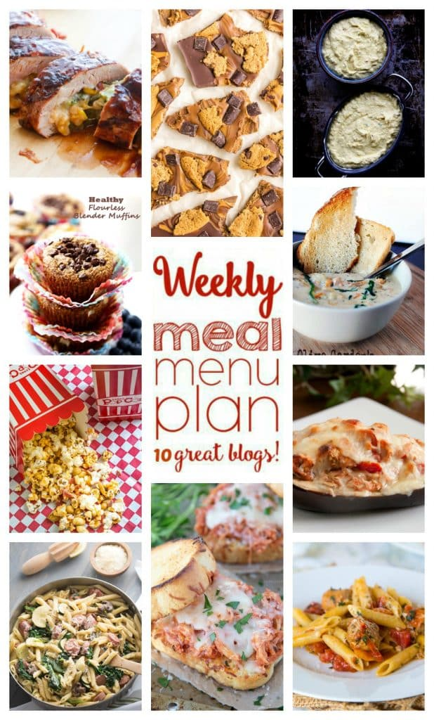 Weekly Meal Plan featuring recipes for Penne and Veggies with Chicken Sausage, Cheddar Stuffed Pork Tenderloin, Grilled Stuffed Eggplant Boats, Slow Cooker Copy Cat Olive Garden Chicken Gnocchi Soup, Shredded Chicken Parmesan Sandwich, One Pot Pasta with Sausage & Tomatoes, Baked Ricotta Cheese, Honey Nut Bacon Popcorn, Chocolate Chip Cookie Bar, and Flourless Blender Muffins!