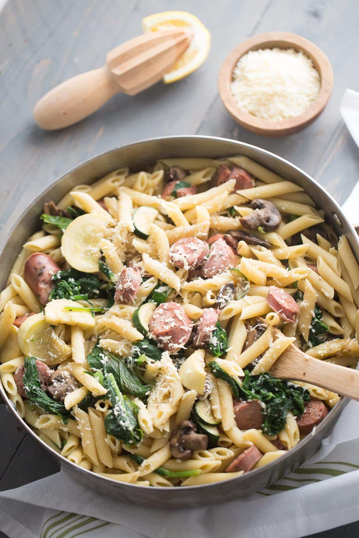 Penne with Veggies and Chicken Sausage {Lemons for Lulu}