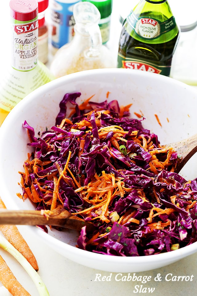 Red Cabbage and Carrot Slaw {Diethood}