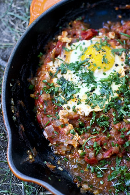 Farmers Market Tomato Sauce and Poached Eggs Shakshuka {Foodie with Family}