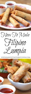 Pork, shrimp, and vegetables are folded into a paper thin lumpia wrapper and then fried to crisp golden perfection in this traditional recipe for Filipino Lumpia. - get the recipe at www.barefeetinthekitchen.com