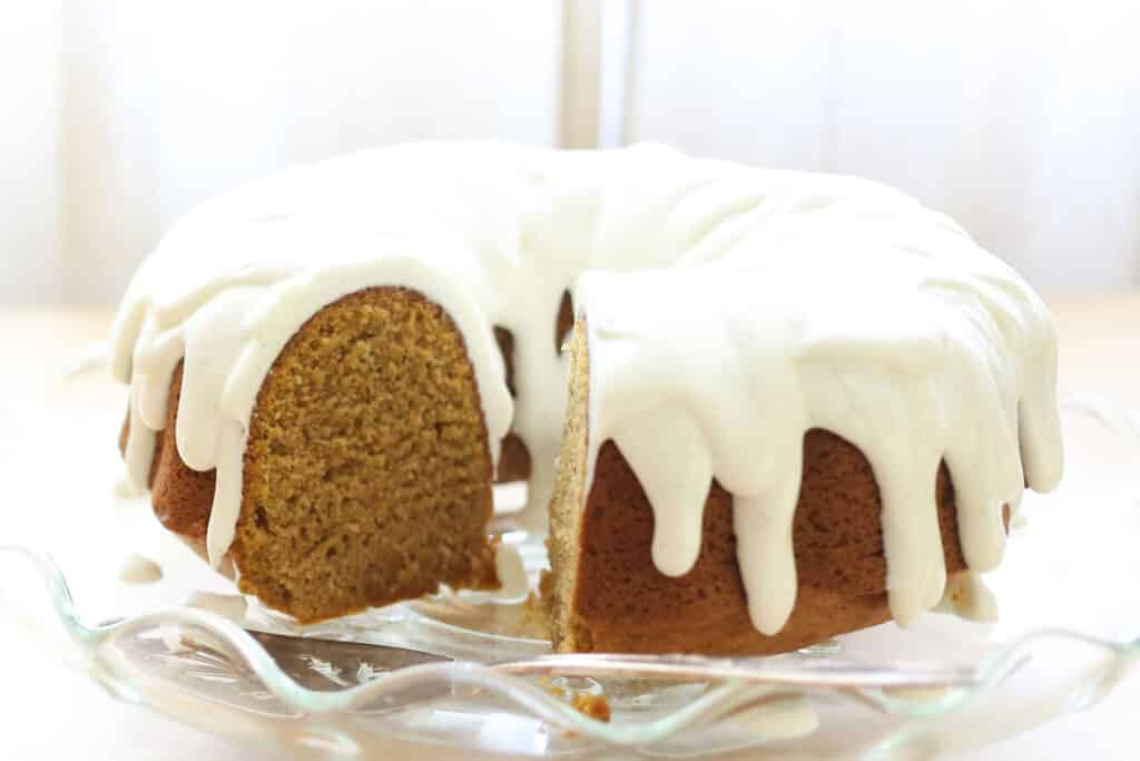 Pumpkin Bundt Cake with Vanilla Bean Icing {traditional and gluten free recipes included} by Barefeet In The Kitchen