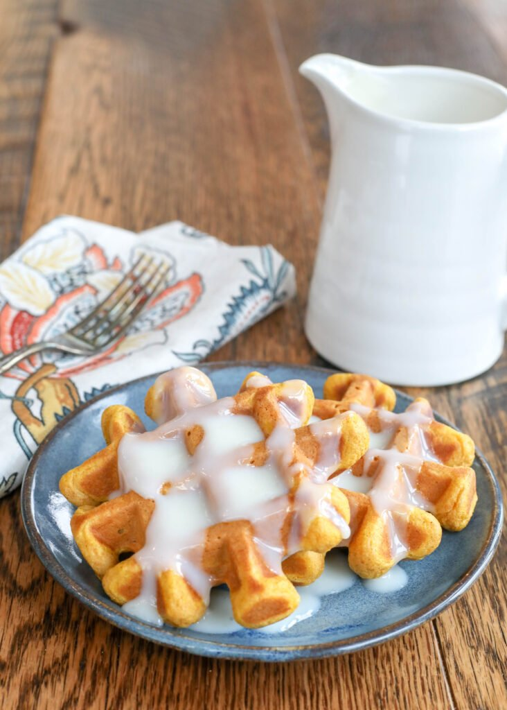 Pumpkin Waffles with Grandmother's Waffle Sauce
