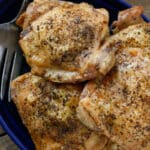 How To Bake Chicken Thighs - get the directions at barefeetinthekitchen.com