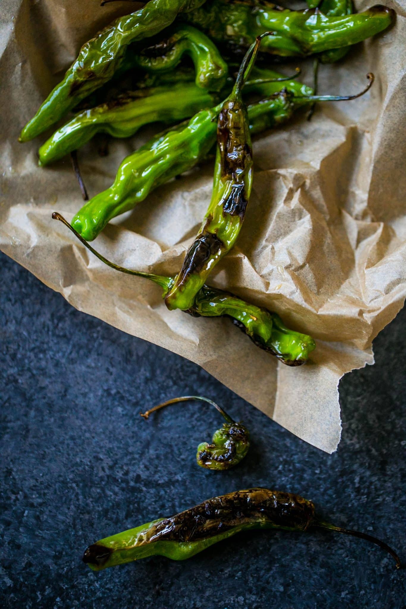 Blistered Shishito Peppers {Sweet C's}