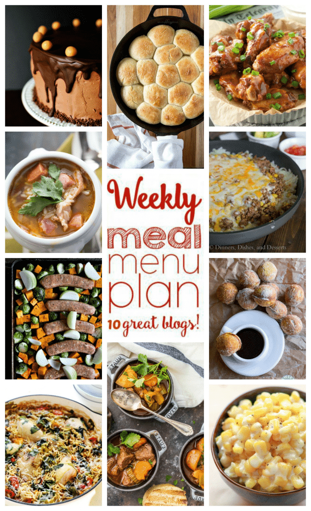 Weekly Meal Plan featuring Slow Cooker Guinness Beef Stew, Roasted Fall Vegetable and Italian Sausage Sheet Pan Meal, Hash Brown Enchilada Skillet, Crock Pot Hard Cider BBQ Wings, One Pot Chicken and Orzo with Spinach and Tomatoes, Red Beans and Rice Soup,  Red Beans and Rice Soup, Slow Cooker Creamed Corn, One Hour Dinner Rolls, Chocolate Peanut Butter Cake, and Pumpkin Spice Baked Donut Holes. - get the recipe at barefeetinthekitchen.com