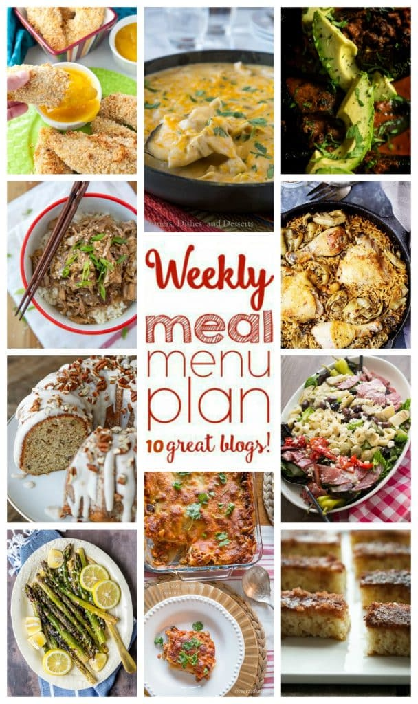 Weekly Meal Plan featuring recipes for Slow Cooker Garlic & Brown Sugar Teriyaki Pork, White Chicken Enchilada Skillet, Cottage Cheese Lasagna, Almond Coconut Crusted Chicken Tenders with Mango Honey Dipping Sauce, Smoked Enchilada Stuffed Poblanos, One Pot Chicken and Rice with Artichokes, Grilled Lemon Butter Asparagus, Italian Chopped Salad, Banana Bundt Cake with Cinnamon Cream Cheese Icing, and Cinnamon Toast Cake. - get the recipes at barefeetinthekitchen.com