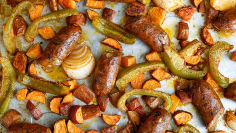 Roasted Sausage with Sweet Potatoes and Peppers