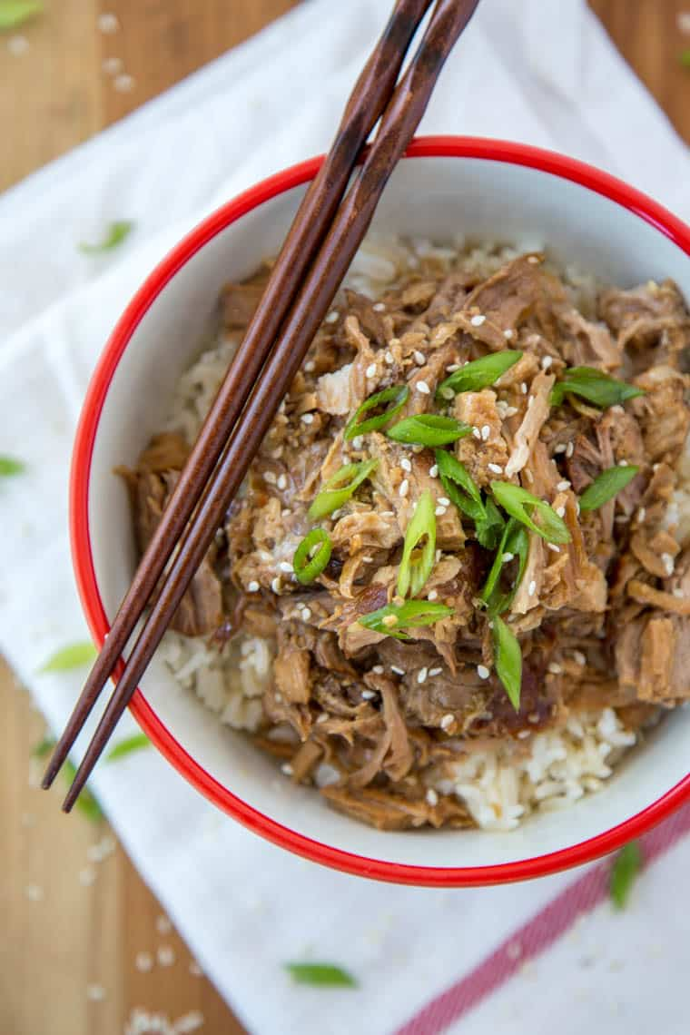 Slow Cooker Garlic & Brown Sugar Teriyaki pork {Yellow Bliss Road}