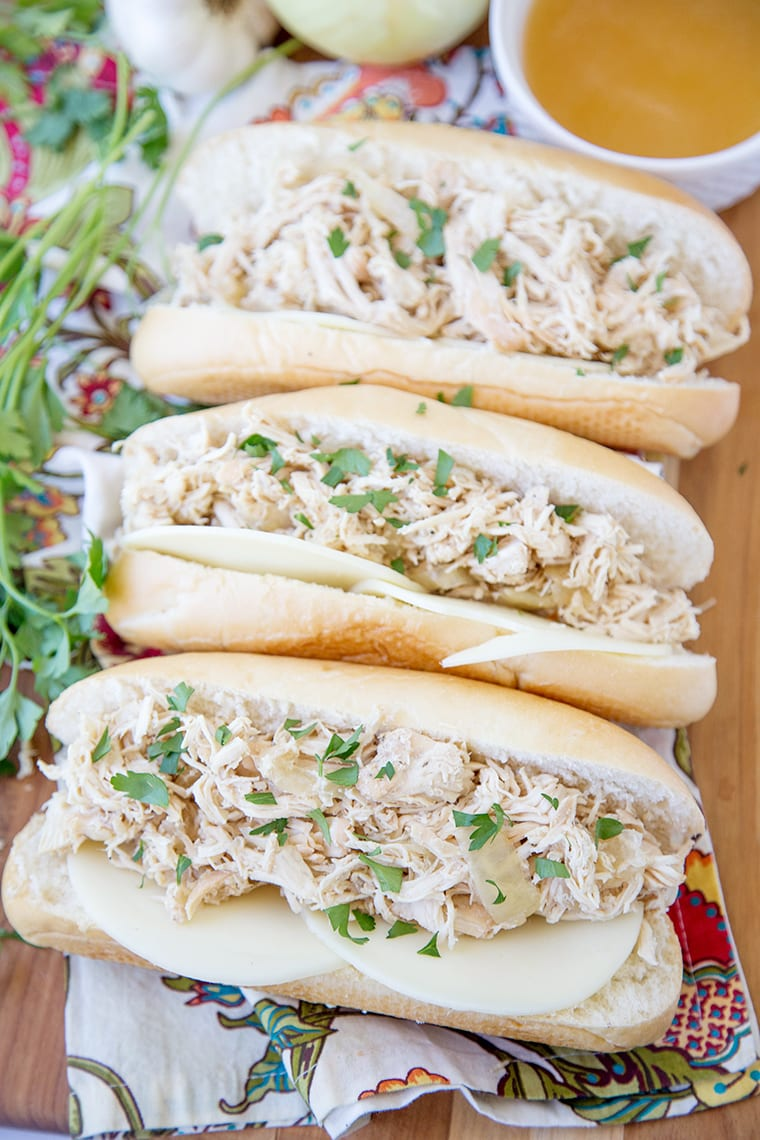 Slow Cooker Chicken French Dips {Yellow Bliss Road}