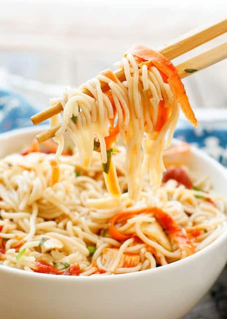 Sweet and Sour Noodle Bowls are a lightning fast dinner that the whole family is sure to enjoy!