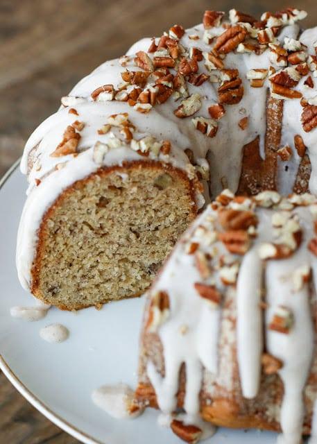 Banana Bundt Cake with Cinnamon Cream Cheese Icing {Barefeet in the Kitchen}