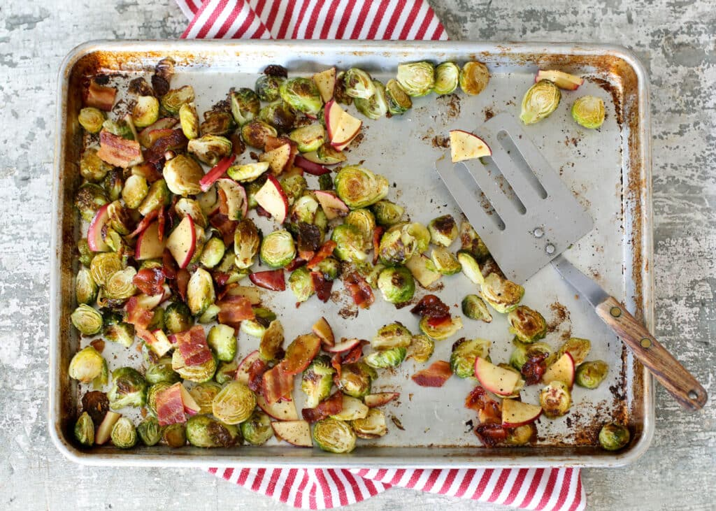 Roasted Brussels with Apples and Bacon - get the recipe at barefeetinthekitchen.com
