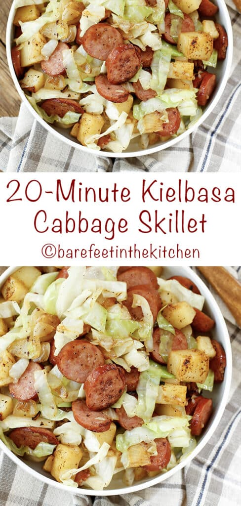 Kielbasa Cabbage Skillet Dinner is ready in just 20 minutes!