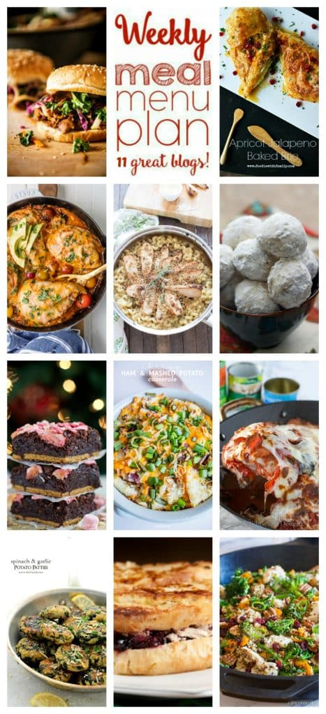 Weekly Meal Plan featuring recipes for Leftover Ham and Potato Cheesy Casserole, Leftover Turkey and Cranberry Monte Cristo Sandwich, One Pan Pizza Chicken, Slow Cooker Hoisin Sliders with Sriracha Kale Slaw, Chicken Broccoli Quinoa Skillet, Inside Out Chicken Enchiladas, Skillet Tetrazzini, Apricot Jalapeno Baked Brie, Spinach and Garlic Potato Patties, Mexican Wedding Cookies, and Peppermint S'mores Oreo Brownies. - get the recipe at barefeetinthekitchen.com