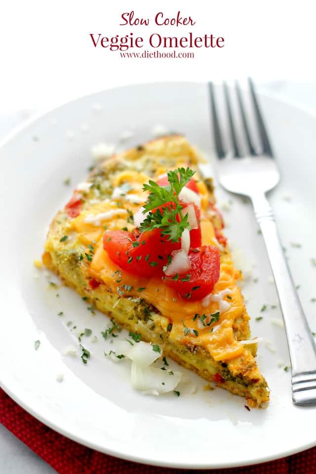 Slow Cooker Veggie Omelette {Diethood}