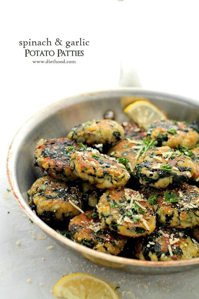 Spinach and Garlic Potato Patties {Diethood}