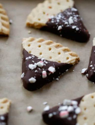 Chocolate Dipped Candy Cane Shortbread