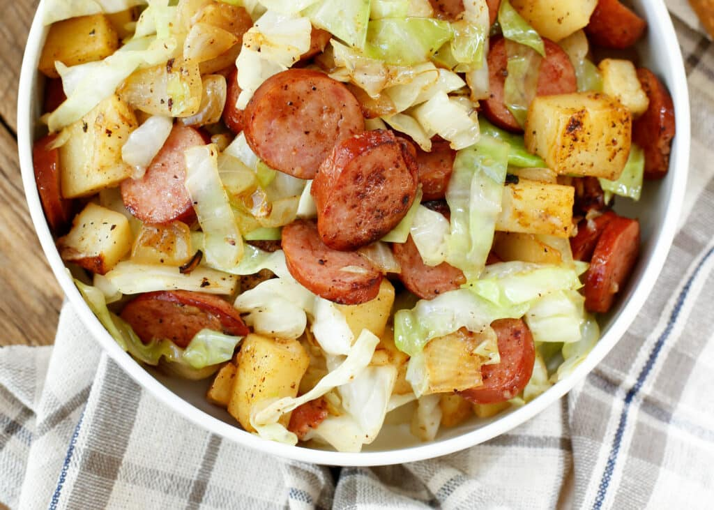 Cabbage and Kielbasa Skillet is a 20 minute recipe that you can make on the busiest of weeknights!