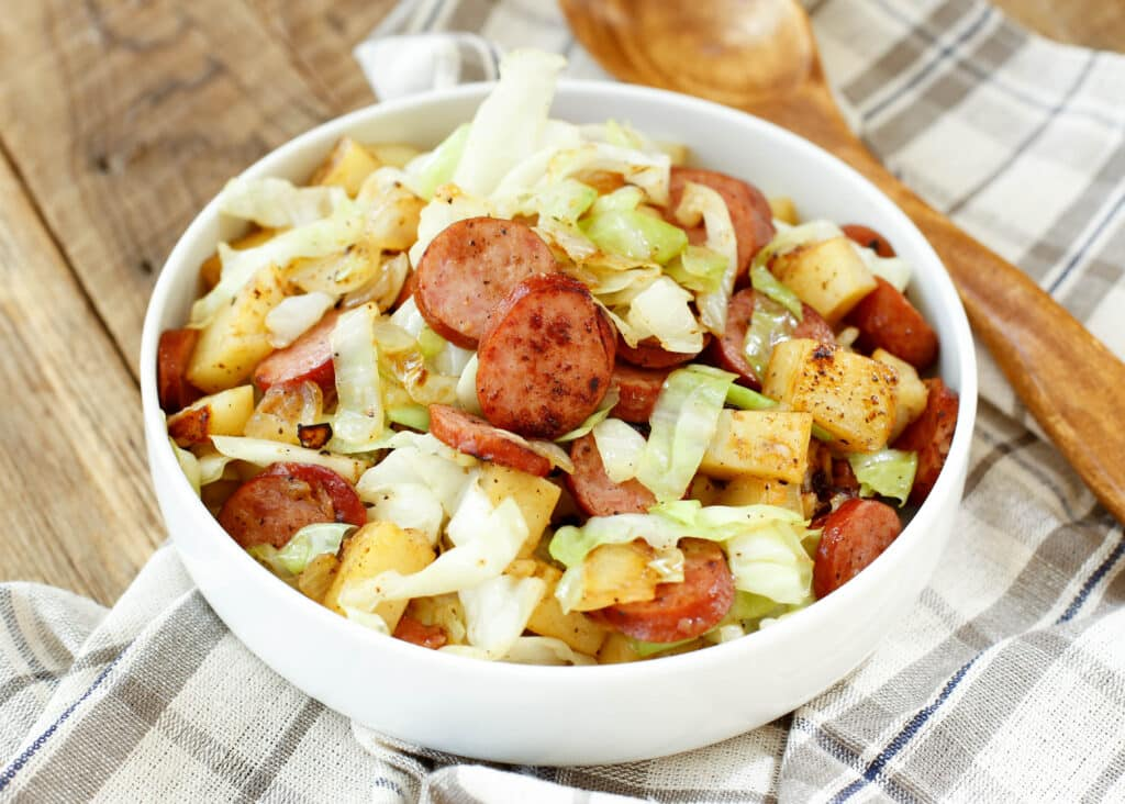 Kielbasa Cabbage Skillet is a family dinner that the kids can make too!