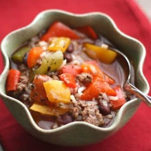 {Slow-Cooker} Stuffed Bell Pepper Soup