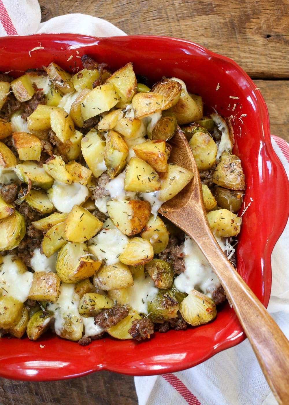 Roasted Potatoes, Brussels, and Sausage - get the recipe at barefeetinthekitchen.com