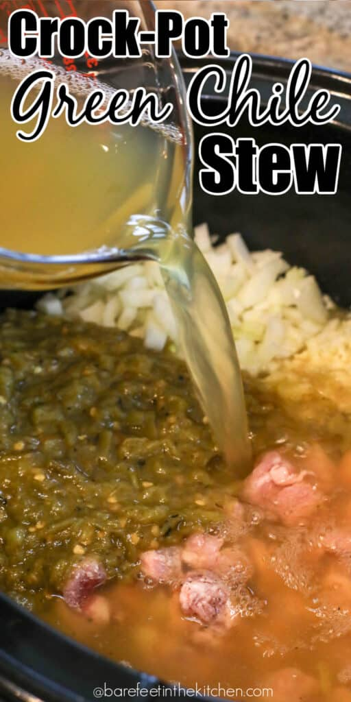 You're going to love this Green Chile Stew that you can make in the slow cooker!