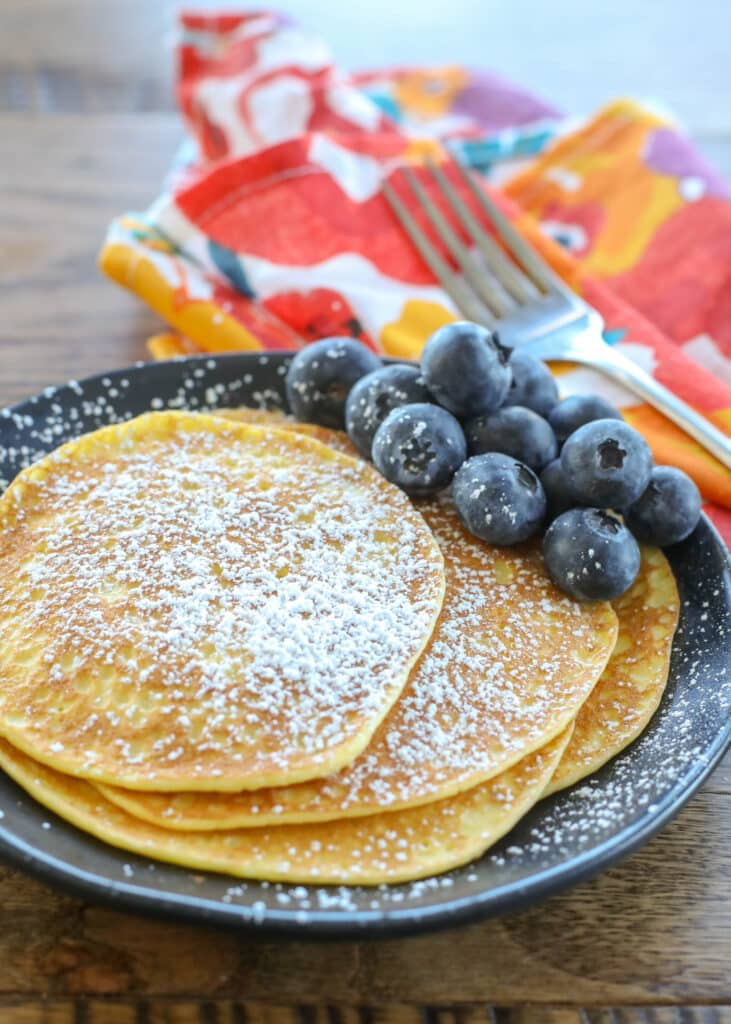 Cream Cheese Pancakes are more crepe than traditional fluffy pancake and we love them!