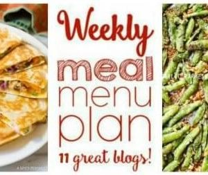 Weekly Meal Plan featuring recipes for One Pot Sausage Pepper Fettuccine Skillet, Sheet Pan Honey Mustard Salmon, Sweet and Tangy Chicken Quesadillas, Ground Beef Noodle Stir Fry, Creamy Lemon Pasta, The Best Swedish Meatballs, Southwest Baked Chicken, Charred Garlic Butter Artichokes, Garlic Parmesan Sugar Snap Peas, Pumpkin Cake with Maple Frosting and Apple Cider Caramel, and Chocolate Whiskey Cake.