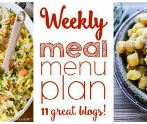 Weekly Meal Plan featuring recipes for Garlic Butter Gnocchi, Skinny Baked Sheet Pan Chicken Fajitas, One Pot Chicken Noodle Casserole, Buffalo Chicken Alfredo, Pan Seared Salmon with Honey Dijon Butter, Sheet Pan Mojo Chicken, One Pan Maple Mustard Chicken, 30-Minute Homemade Dinner Rolls, Creamed Corn with Peppers and Bacon, Puff Pastry Australian Apple Strudel, and Monster Cookie No-Bake Bars! get the recipes at barefeetinthekitchen.com