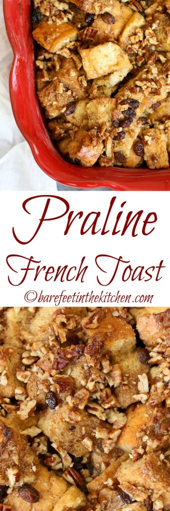 This Praline French Toast Bake is all of your breakfast dreams come true! Get the recipe at barefeetinthekitchen.com
