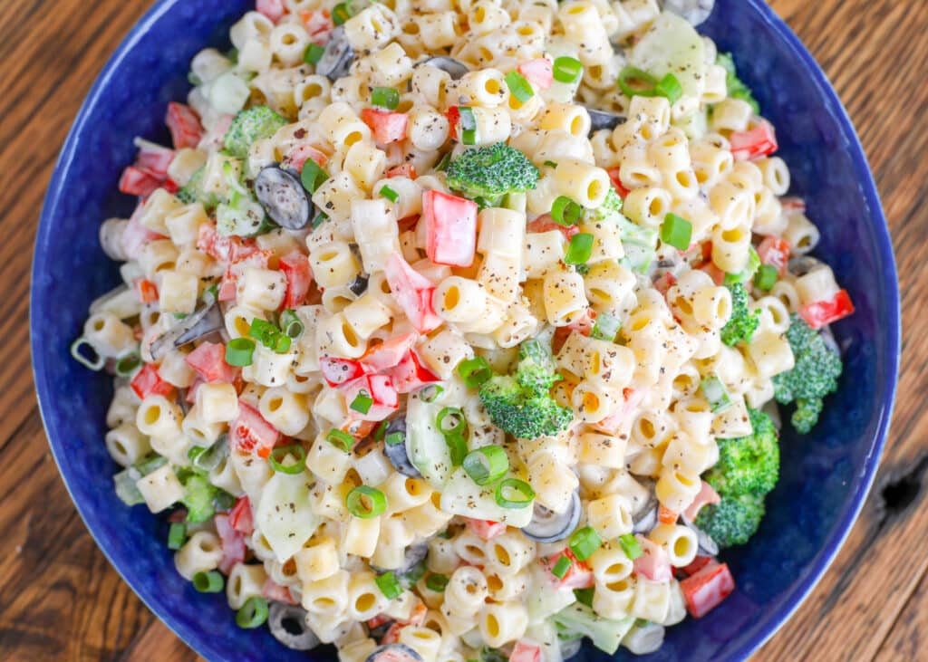 Creamy Pasta Salad is a favorite all year long