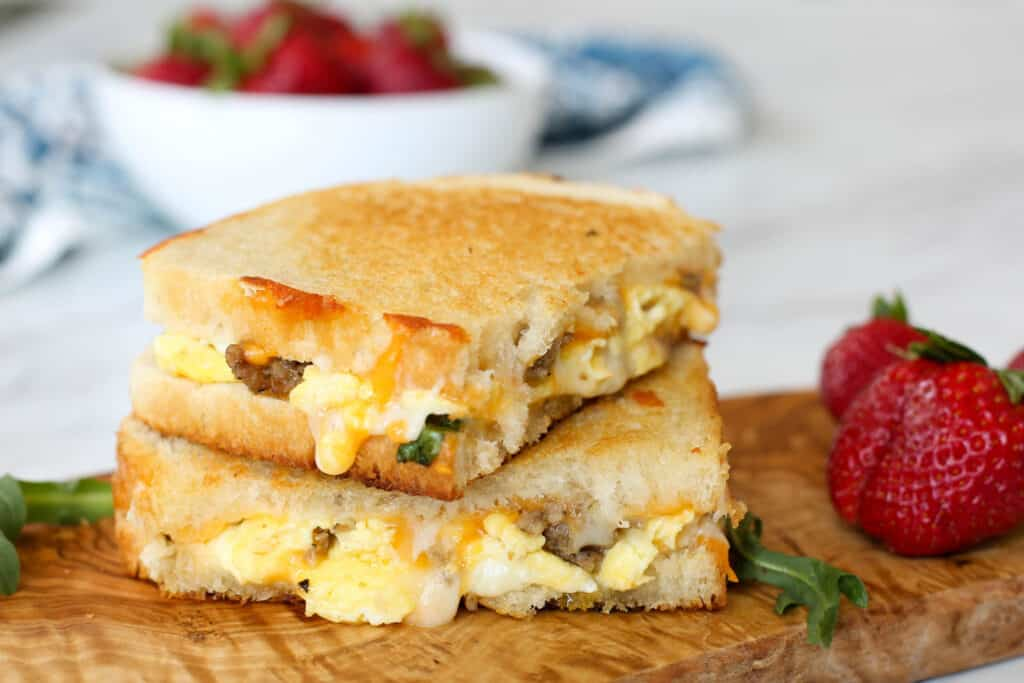 Breakfast Grilled Cheese will bring the whole family to the table! get the recipe at barefeetinthekitchen.com