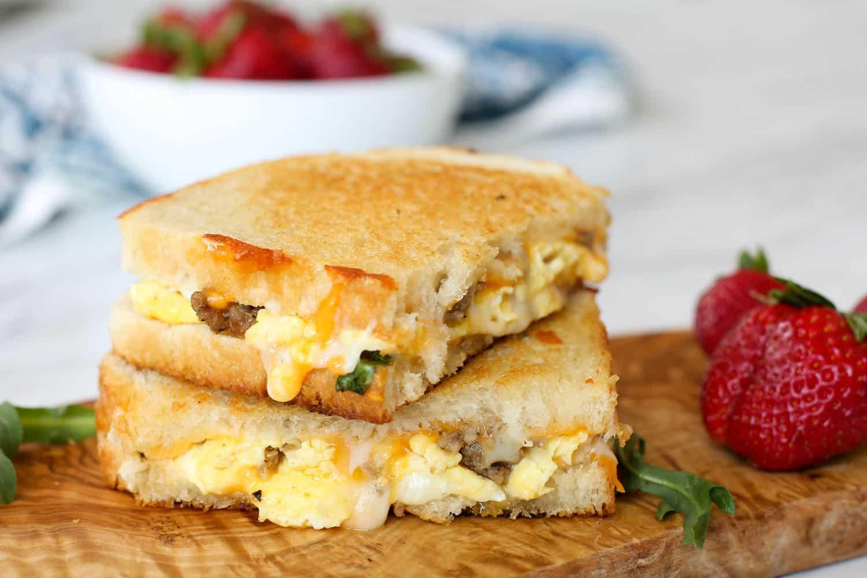 Breakfast Grilled Cheese | barefeetinthekitchen.com