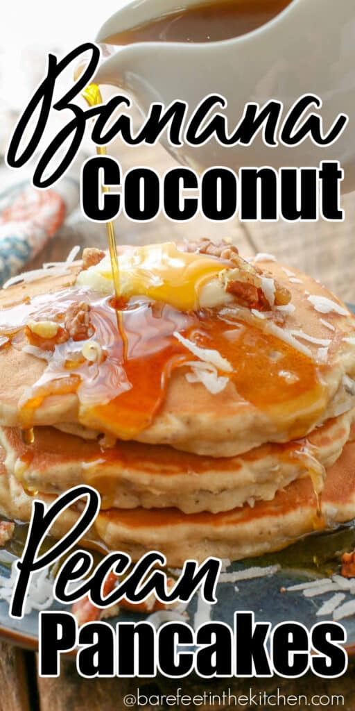 These pancakes are hearty, fluffy banana pancakes filled with irresistible bits of sweet coconut and chewy pecans.