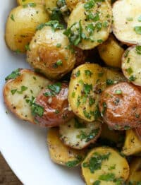 Served warm or cold, Garlic Lover's Potato Salad is a hit! - get the recipe at barefeetinthekitchen.com