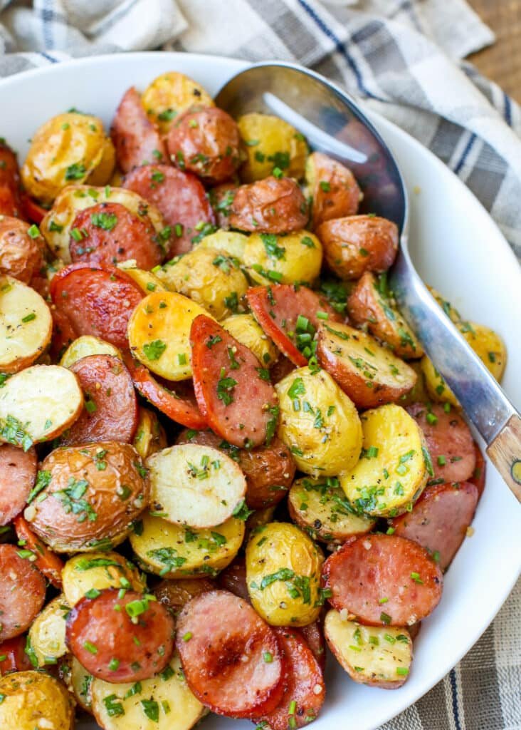 Garlicky Potatoes with Kielbasa - get the recipe at barefeetinthekitchen.com