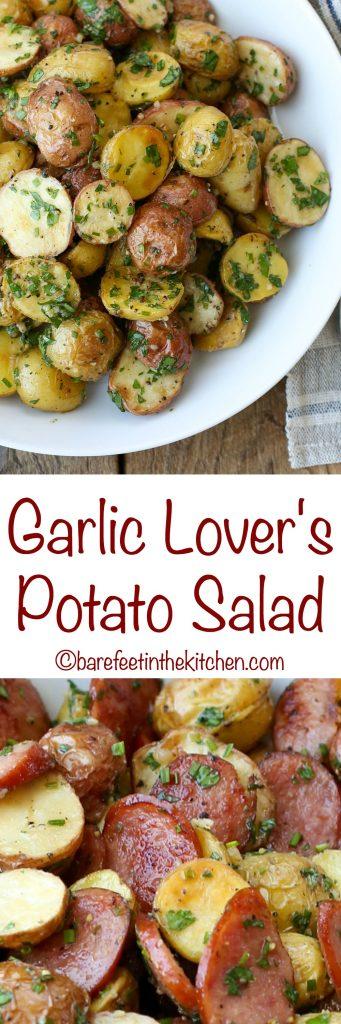 Garlic Lover's Potato Salad - get the recipe at barefeetinthekitchen.com
