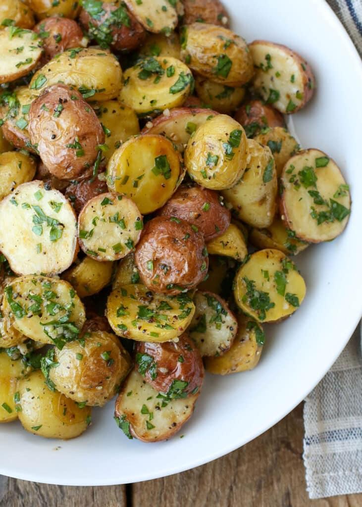 Garlic Potato Salad - get the recipe at barefeetinthekitchen.com
