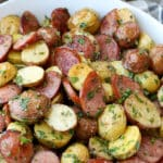 Garlic Potato Salad with Kielbasa - get the recipe at barefeetinthekitchen.com