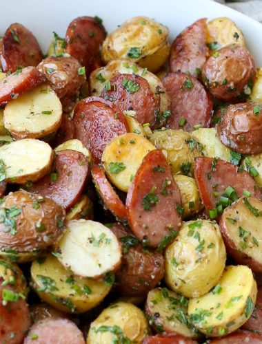 Garlic Potato Salad with Kielbasa - get the recipe at barefeetinthekitchen.com