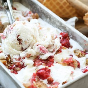 Strawberry Crisp Ice Cream is a summer dream come true! get the recipe at barefeetinthekitchen.com