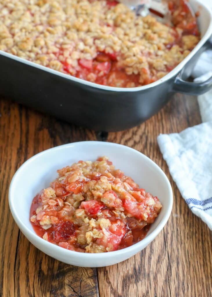 Strawberry Rhubarb Crunch is a summer favorite! - get the recipe at barefeetinthekitchen.com