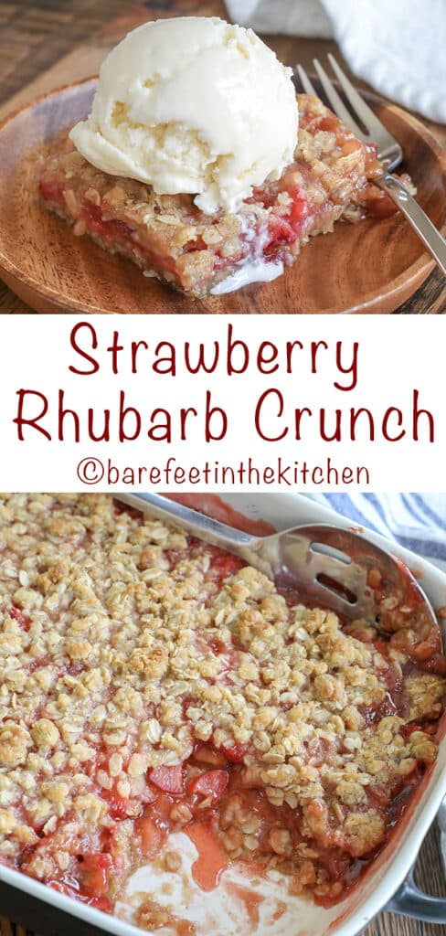 Strawberry Rhubarb Crunch is a sweet and slightly tangy dessert that you can make in just a few minutes! get the recipe at barefeetinthekitchen.com