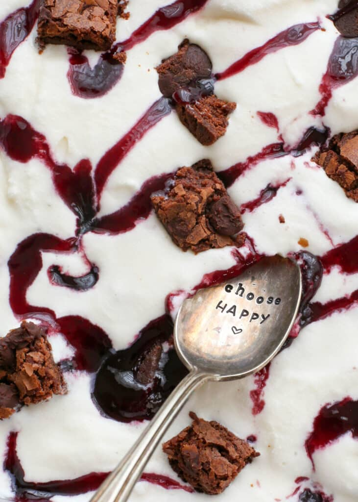 You're going to love this Brownie Berry Ice Cream - get the recipe at barefeetinthekitchen.com