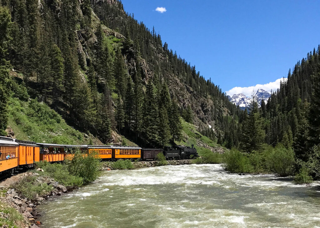 Riding the train in the Durango Silverton Narrow Gauge Railroad