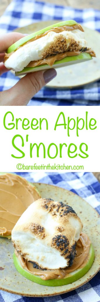 Green Apple S'mores - get the recipe at barefeetinthekitchen.com