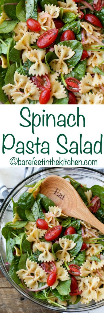Spinach Pasta Salad - get the recipe at barefeetinthekitchen.com